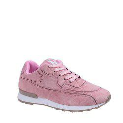 Solid Color Lace-Up Sport Shoes - PINK 36