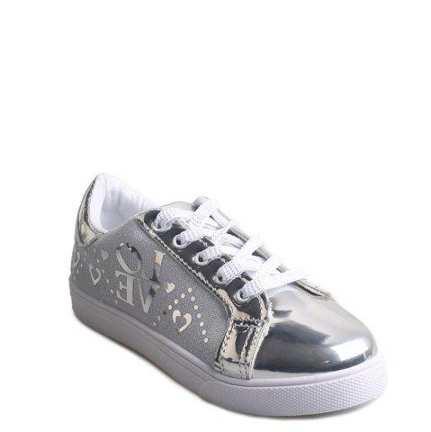 Shops Letter Printed Lace-Up Flat Shoes SILVER 39