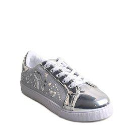 Letter Printed Lace-Up Flat Shoes - SILVER 39
