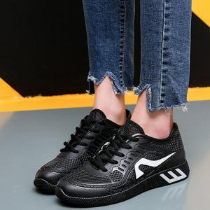 Breathable Solid Color Athletic Shoes - BLACK 38