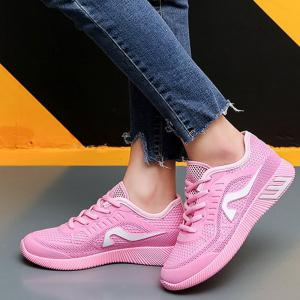Breathable Solid Color Athletic Shoes - PINK 40