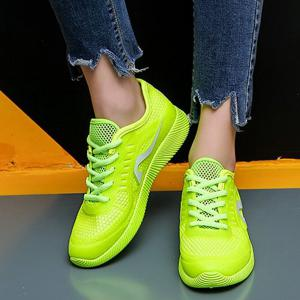 Breathable Solid Color Athletic Shoes - NEON GREEN 37