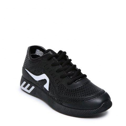 Fancy Breathable Solid Color Athletic Shoes BLACK 36