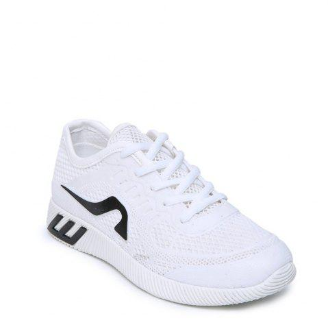 Fancy Breathable Solid Color Athletic Shoes WHITE 37