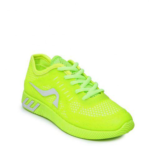 Fancy Breathable Solid Color Athletic Shoes - 38 NEON GREEN Mobile
