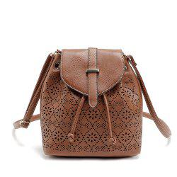 Hollow Out Solid Color Draw Crossbody Bag -