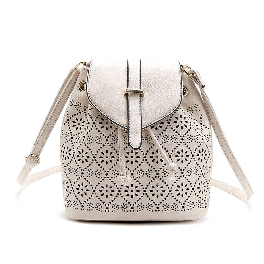 Fancy Hollow Out Solid Color Draw Crossbody Bag