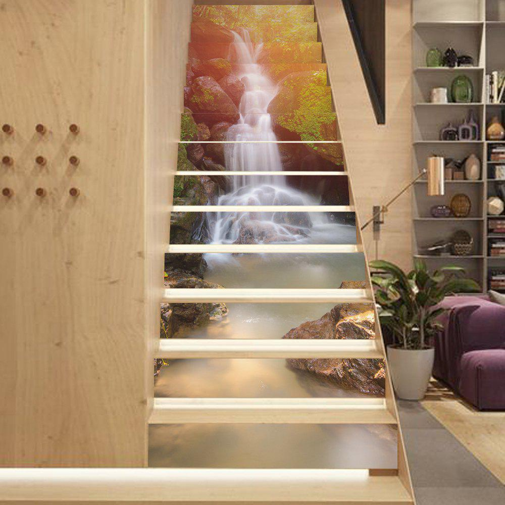 Sunshie WaterfallStyle 13 Pieces Stair Sticker Wall DecorHOME<br><br>Size: 18 X 100CM X 13 PIECES; Color: MIXED COLOR;