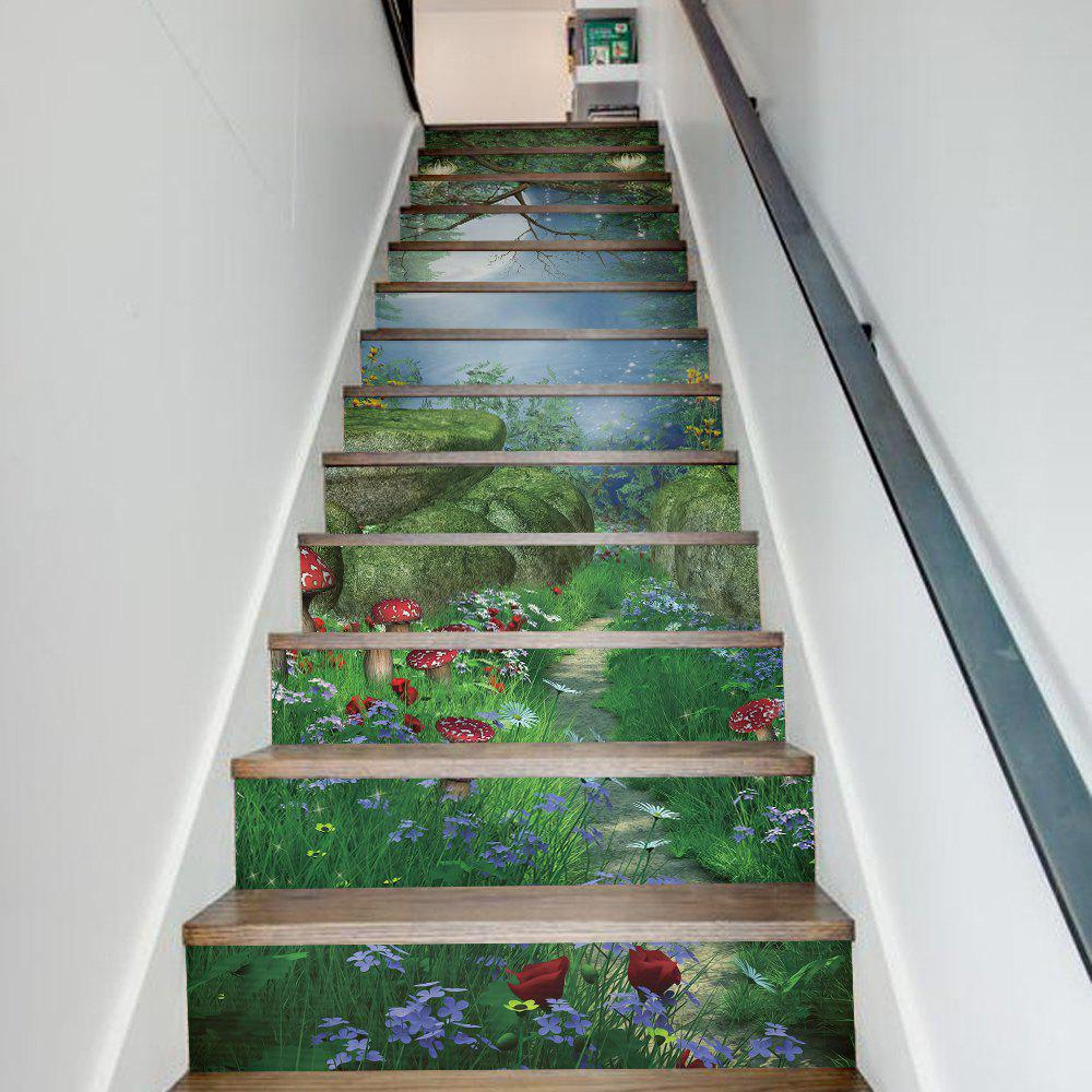 Magic Forest Style 13 Pieces Stair Sticker Wall DecorHOME<br><br>Size: 18 X 100CM X 13 PIECES; Color: MIXED COLOR;