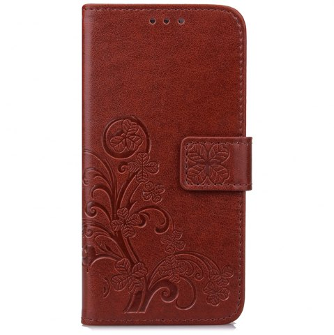 Best Yc Lucky Clover Holster Leaf Card Lanyard Pu Leather Case for Samsung S6 Edge
