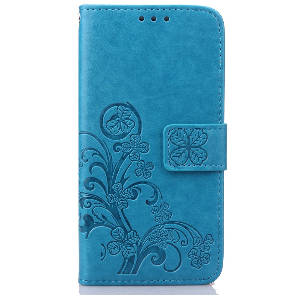 New Yc Lucky Clover Holster Leaf Card Lanyard Pu Leather Case for Samsung S6 Edge