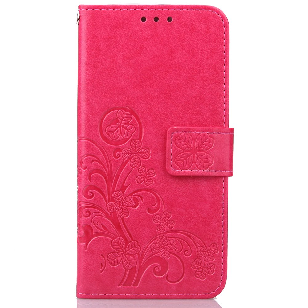 Unique Yc Lucky Clover Holster Leaf Card Lanyard Pu Leather Case for Samsung S7 Edge