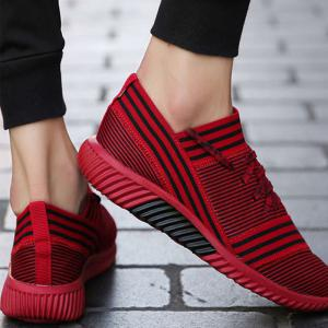 Lace-Up Striped Sport Shoes - RED 44