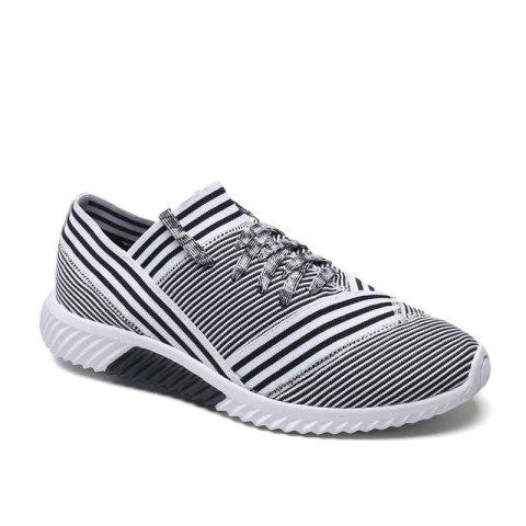Cheap Lace-Up Striped Sport Shoes WHITE 40