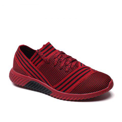 Cheap Lace-Up Striped Sport Shoes