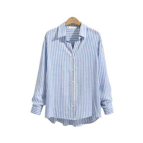 Shops Striped Casual Long -Sleeved Shirt