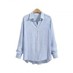 Striped Casual Long -Sleeved Shirt -