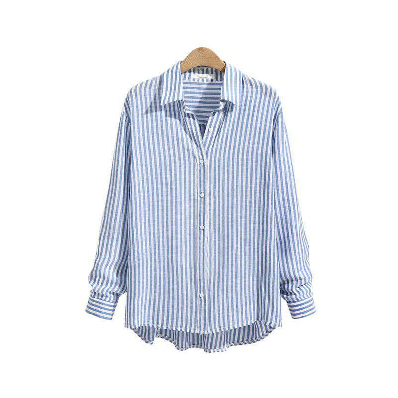 Striped Casual Long -Sleeved ShirtWOMEN<br><br>Size: XL; Color: BLUE STRIPE; Material: Cotton; Fabric Type: Cotton and kapok hemp; Shirt Length: Regular; Sleeve Length: Full; Collar: Turn-down Collar; Pattern Type: Striped; Style: Casual; Elasticity: Nonelastic; Weight: 0.1700kg; Package Contents: 1 x Shirt;