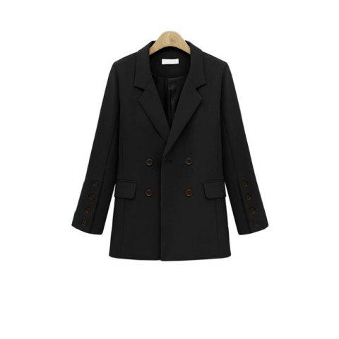 Trendy Solid Color Double Breasted Blazer BLACK S