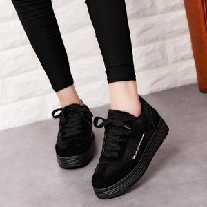 Patchwork Seam Fur Casual Shoes -