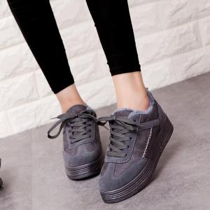 Patchwork Seam Fur Casual Shoes - GRAY 36