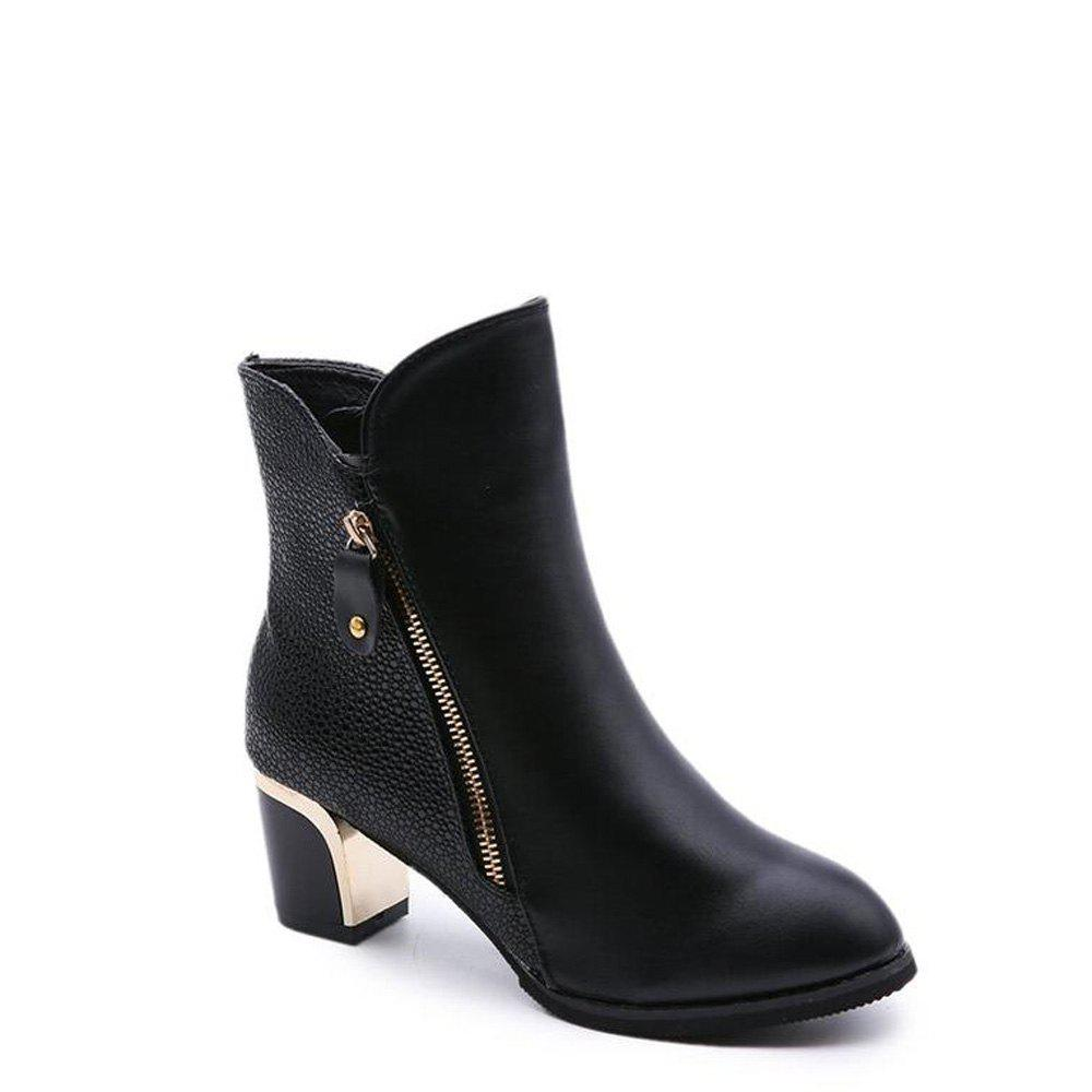 Zippered Chunky Heel Short BootsSHOES &amp; BAGS<br><br>Size: 42; Color: BLACK; Pumps Type: Mary Janes; Toe Style: Closed Toe; Toe Shape: Round Toe; Heel Type: Others; Occasion: Casual; Upper Material: PU; Lining Material: PU; Season: Spring/Fall,Winter; Weight: 1.1200kg; Available Size: 34,35,36,37,38,39,40,41,42; Package Contents: 1xShoes(pair);
