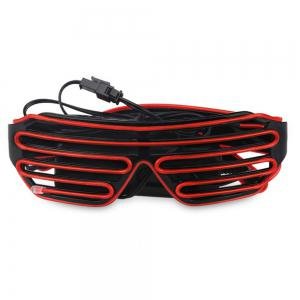 YouOKLight DC 3V 3 Modes Sound Control Flash El LED Glasses Luminous Party Lighting Colorful Glowing Classic Toys for Dance DJ Party Mask 1PC - RED