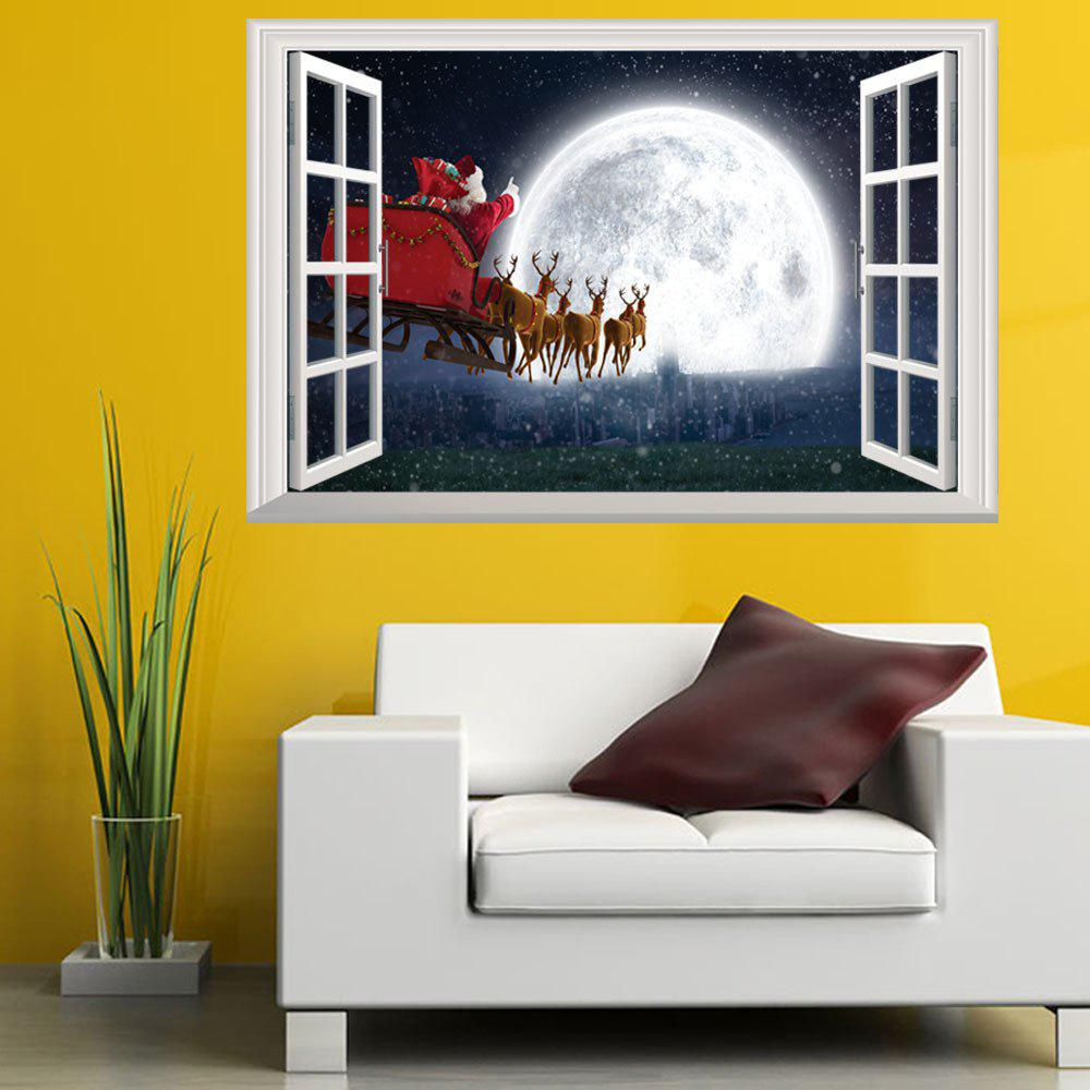Creative Santa Claus On The Moon 3D Home Decoration Wall StrickersHOME<br><br>Color: COLORMIX;