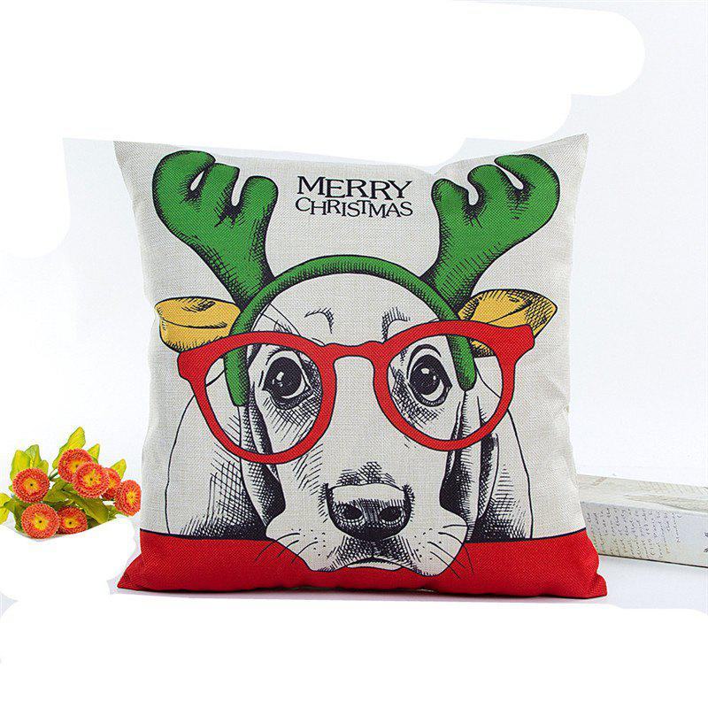 Lovely Christmas Dog Flax Pillow Cover Home Decoration PillowcaseHOME<br><br>Color: WHITE;