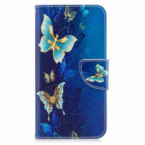 Online Golden Butterfly Painted Pu Phone Case for Huawei P8 Lite 2017