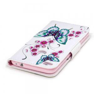 Peach Butterfly Painted Pu Phone Case for Huawei P8 Lite 2017 -