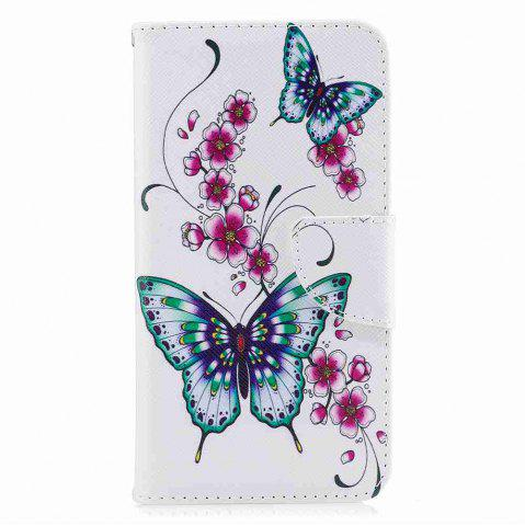 Latest Peach Butterfly Painted Pu Phone Case for Huawei P8 Lite 2017