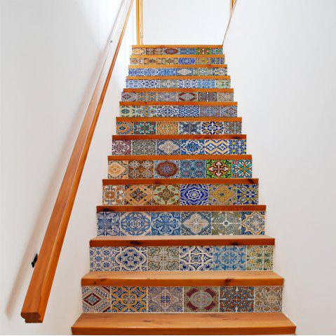 Unique Colorful Ceramic Tiles Patterns 13 Pieces Stair Sticker Wall Decor