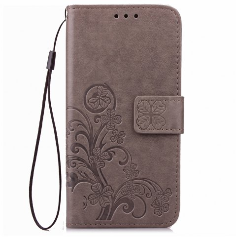 Chic Yc Lucky Clover Holster Leaf Card Lanyard Pu Leather Case for Samsung J2