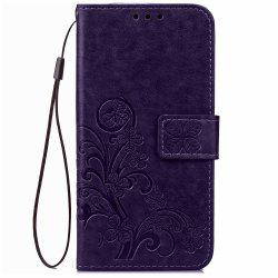 Yc Lucky Clover Holster Leaf Card Lanyard Pu Leather Case for Samsung J2 -