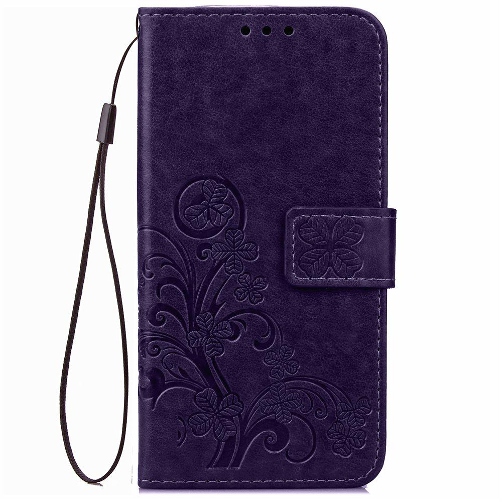 Outfit Yc Lucky Clover Holster Leaf Card Lanyard Pu Leather Case for Samsung J2