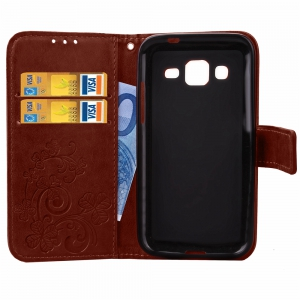 Yc Lucky Clover Holster Leaf Card Lanyard Pu Leather Case for Samsung J3 -