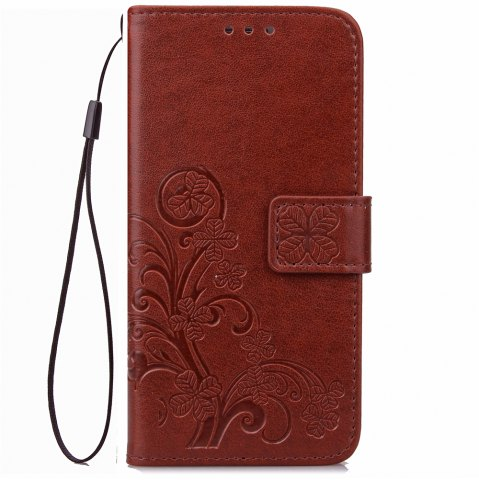 Sale Yc Lucky Clover Holster Leaf Card Lanyard Pu Leather Case for Samsung J3