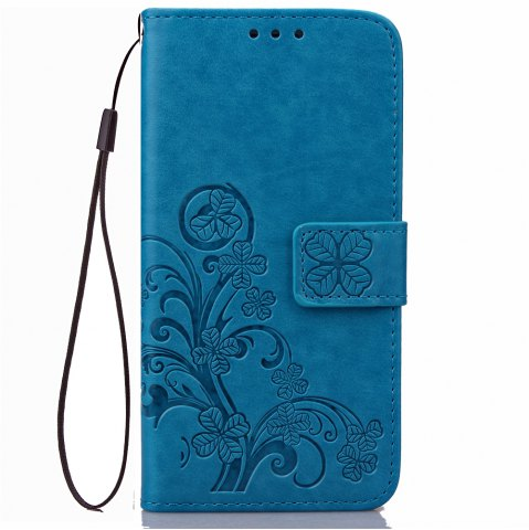 Outfit Yc Lucky Clover Holster Leaf Card Lanyard Pu Leather Case for Samsung J3