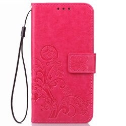 Yc Lucky Clover Holster Leaf Card Lanyard Pu Leather Case for Samsung J5 Prime -