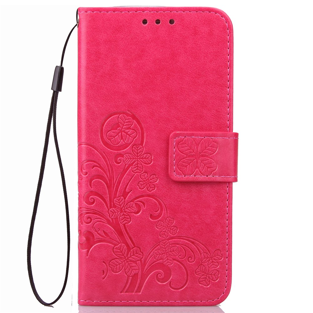 Unique Yc Lucky Clover Holster Leaf Card Lanyard Pu Leather Case for Samsung J5 Prime
