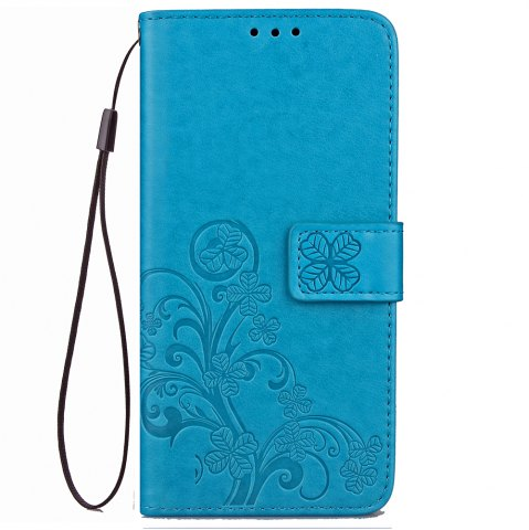 Outfit Yc Lucky Clover Holster Leaf Card Lanyard Pu Leather Case for Samsung J7 Prime