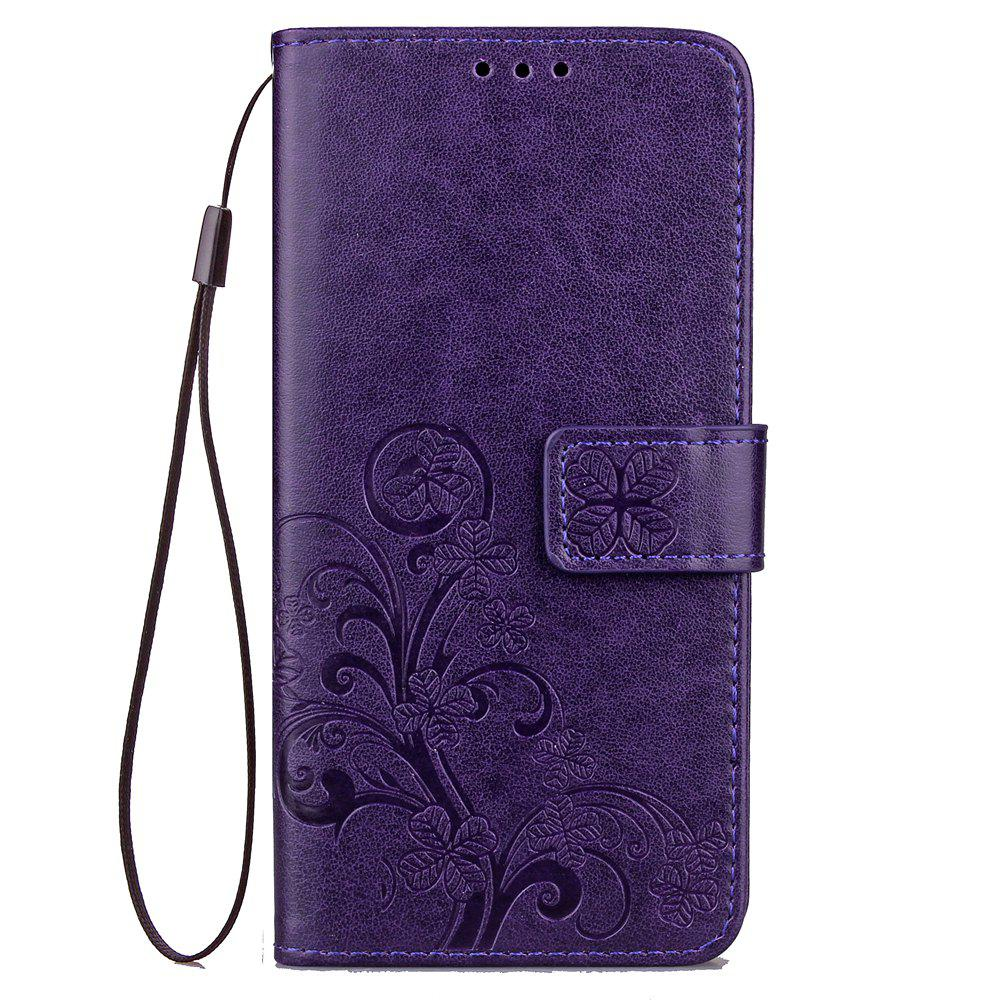 Chic Yc Lucky Clover Holster Leaf Card Lanyard Pu Leather Case for Samsung J7 Prime