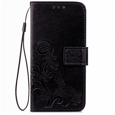 Cheap Yc Lucky Clover Holster Leaf Card Lanyard PU Leather Case for Samsung J7