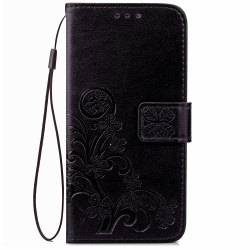 Yc Lucky Clover Holster Leaf Card Lanyard PU Leather Case for Samsung J7 -