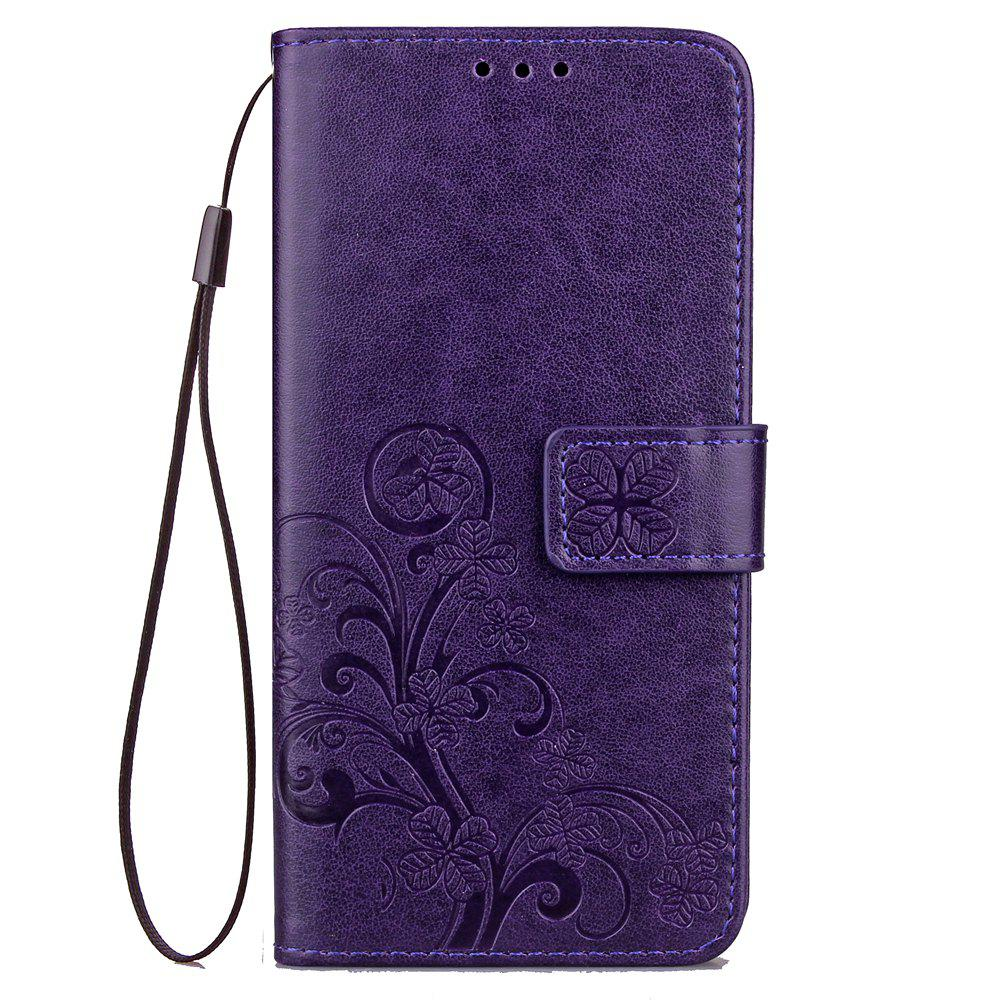 Store Yc Lucky Clover Holster Leaf Card Lanyard Pu Leather Case for Samsung J530