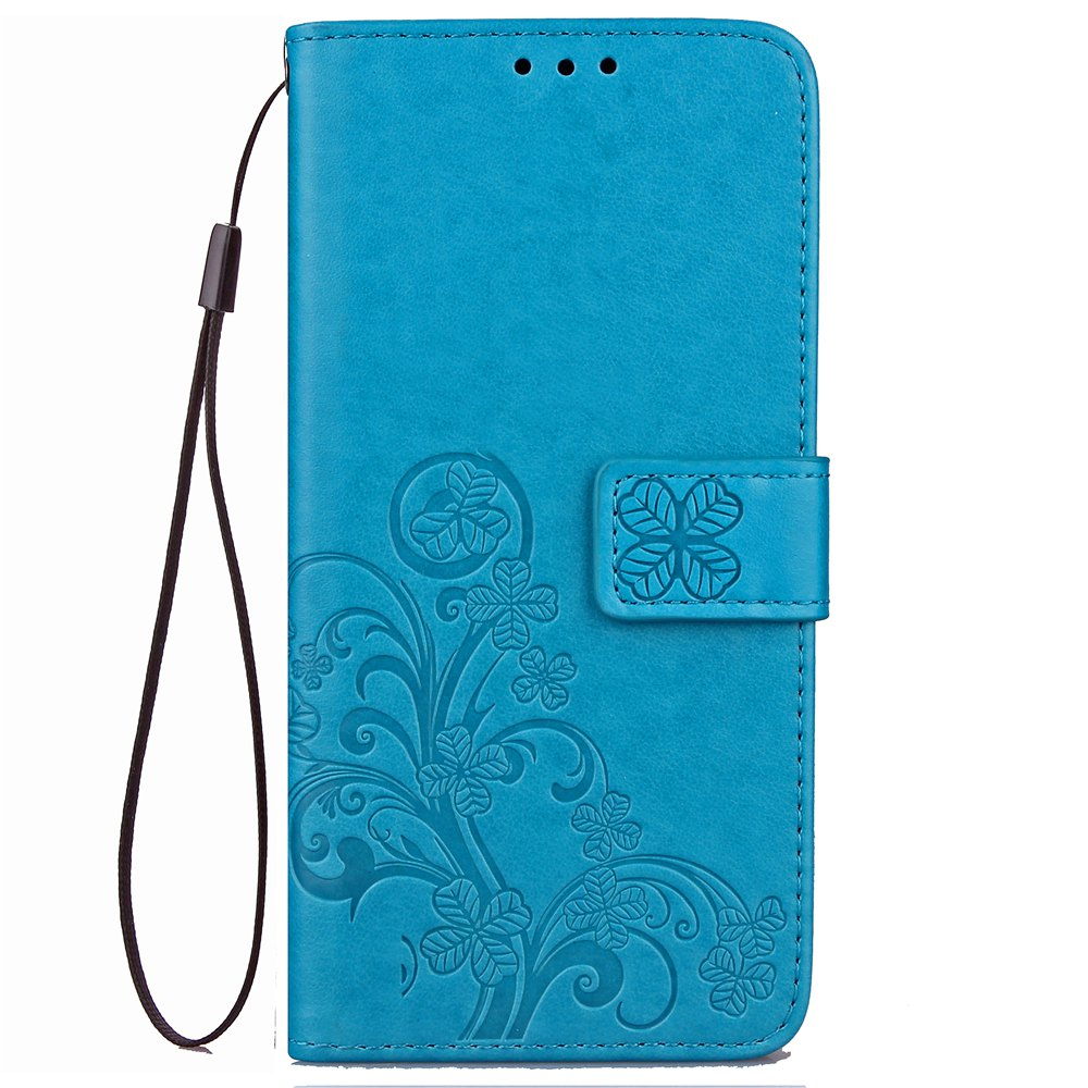 Fancy Yc Lucky Clover Holster Leaf Card Lanyard Pu Leather Case for Samsung J530