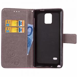 Yc Lucky Clover Holster Leaf Card Lanyard Pu Leather Case for Samsung Note 4 -