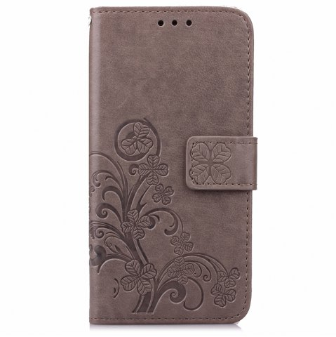 Unique Yc Lucky Clover Holster Leaf Card Lanyard Pu Leather Case for Samsung Note 4