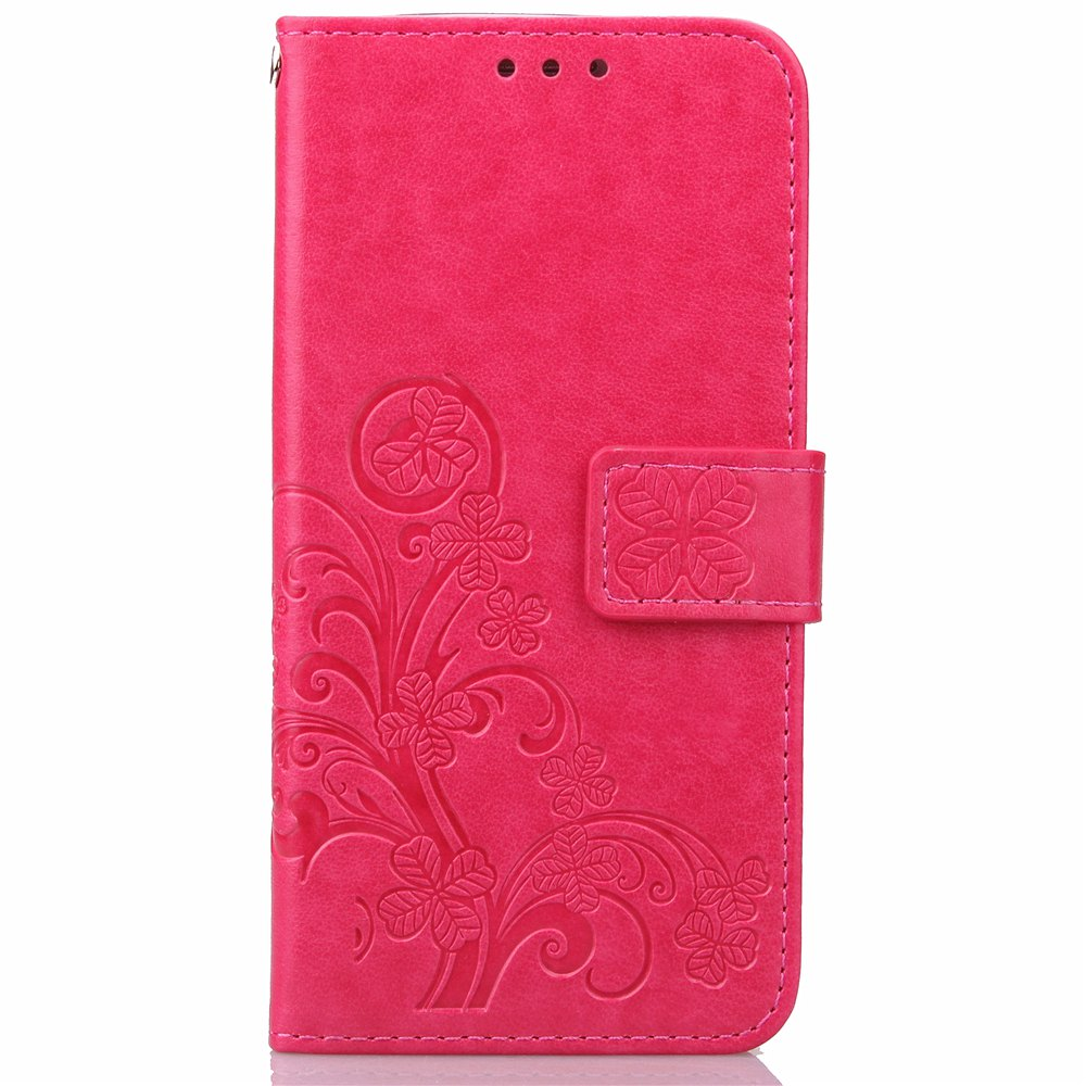 Best Yc Lucky Clover Holster Leaf Card Lanyard Pu Leather Case for Samsung Note 4